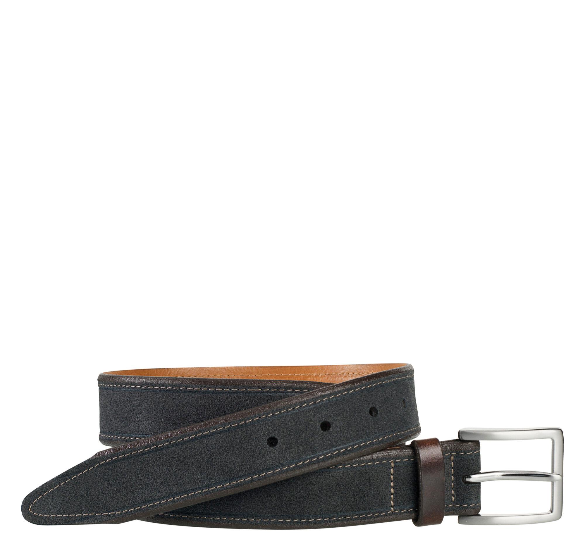 Johnston & Murphy Men's Stitched Suede Belt - Navy Suede - Size 44
