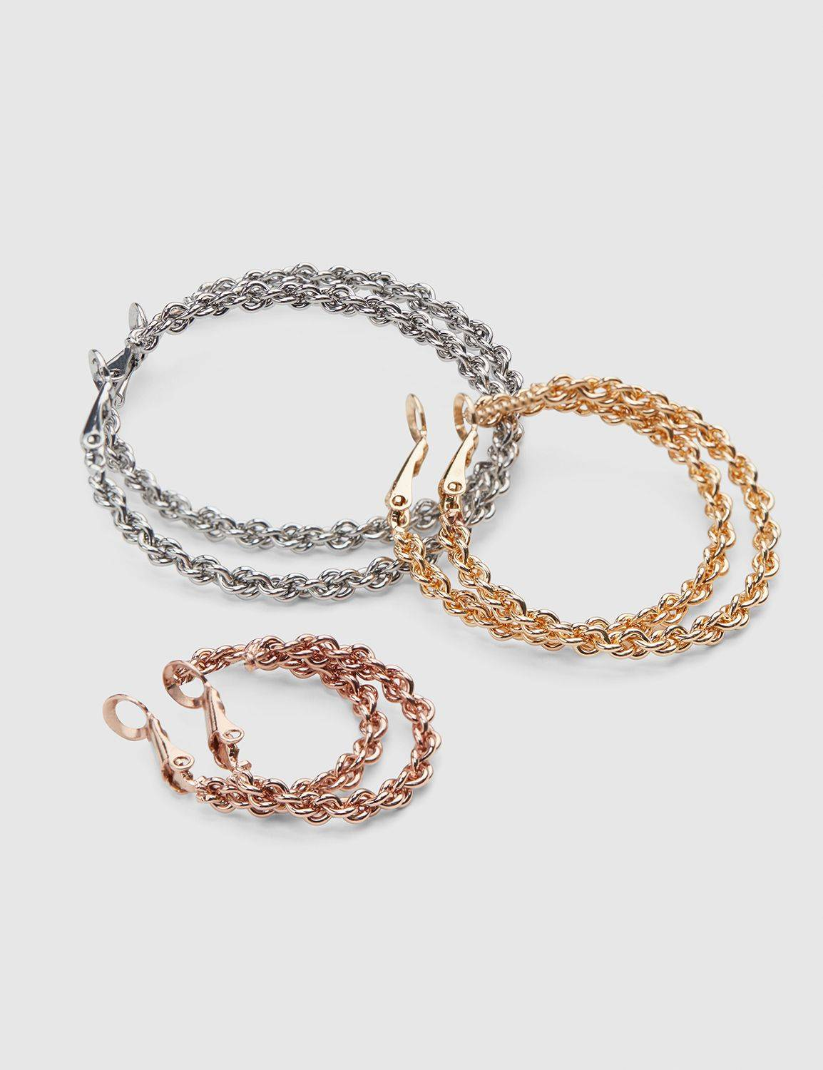 Lane Bryant Women's Multi-Size Twisted Hoop Earrings - 3-Pack ONESZ Mixed Metal