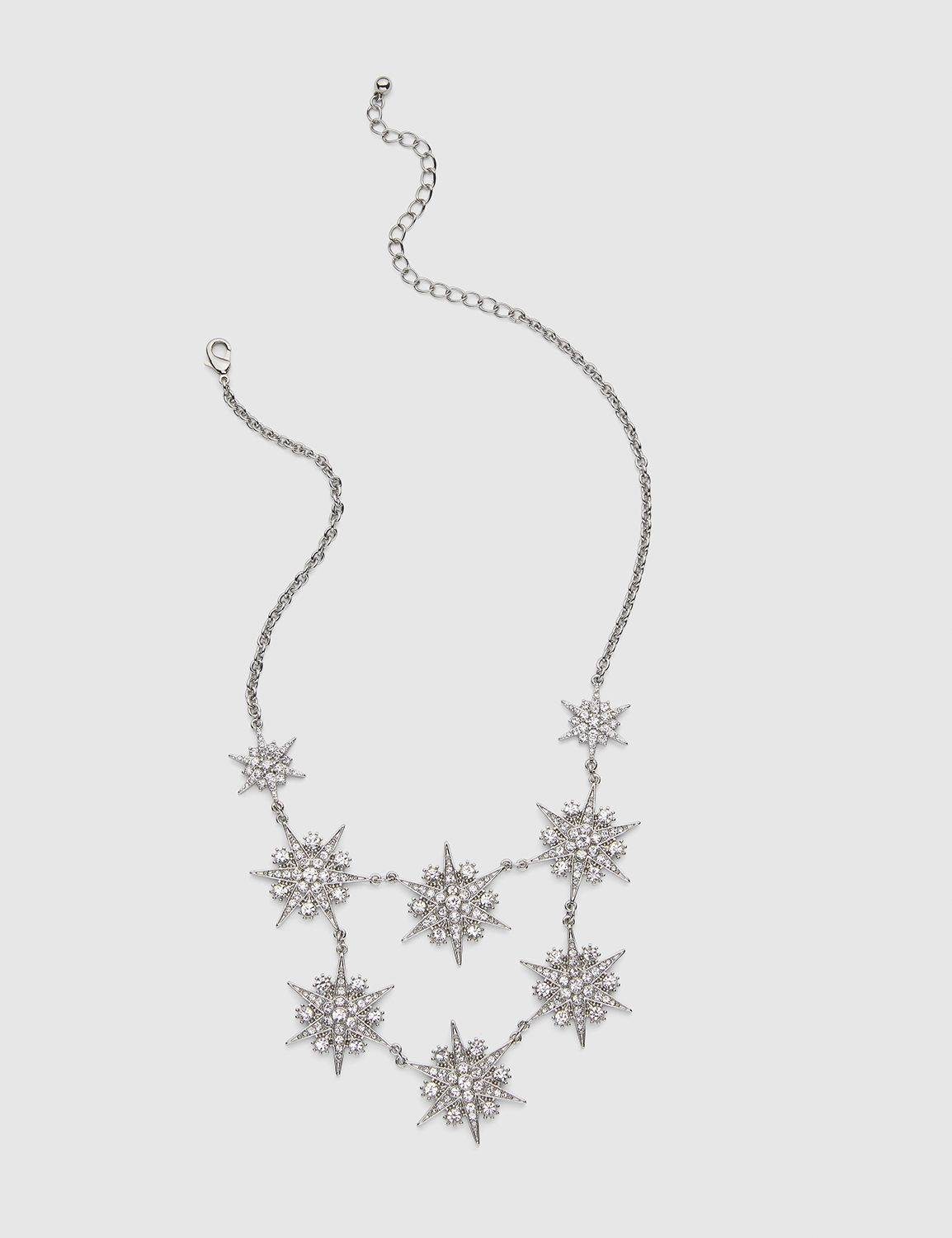 Lane Bryant Women's Pave-Embellished Starburst Statement Necklace ONESZ Silver Tone