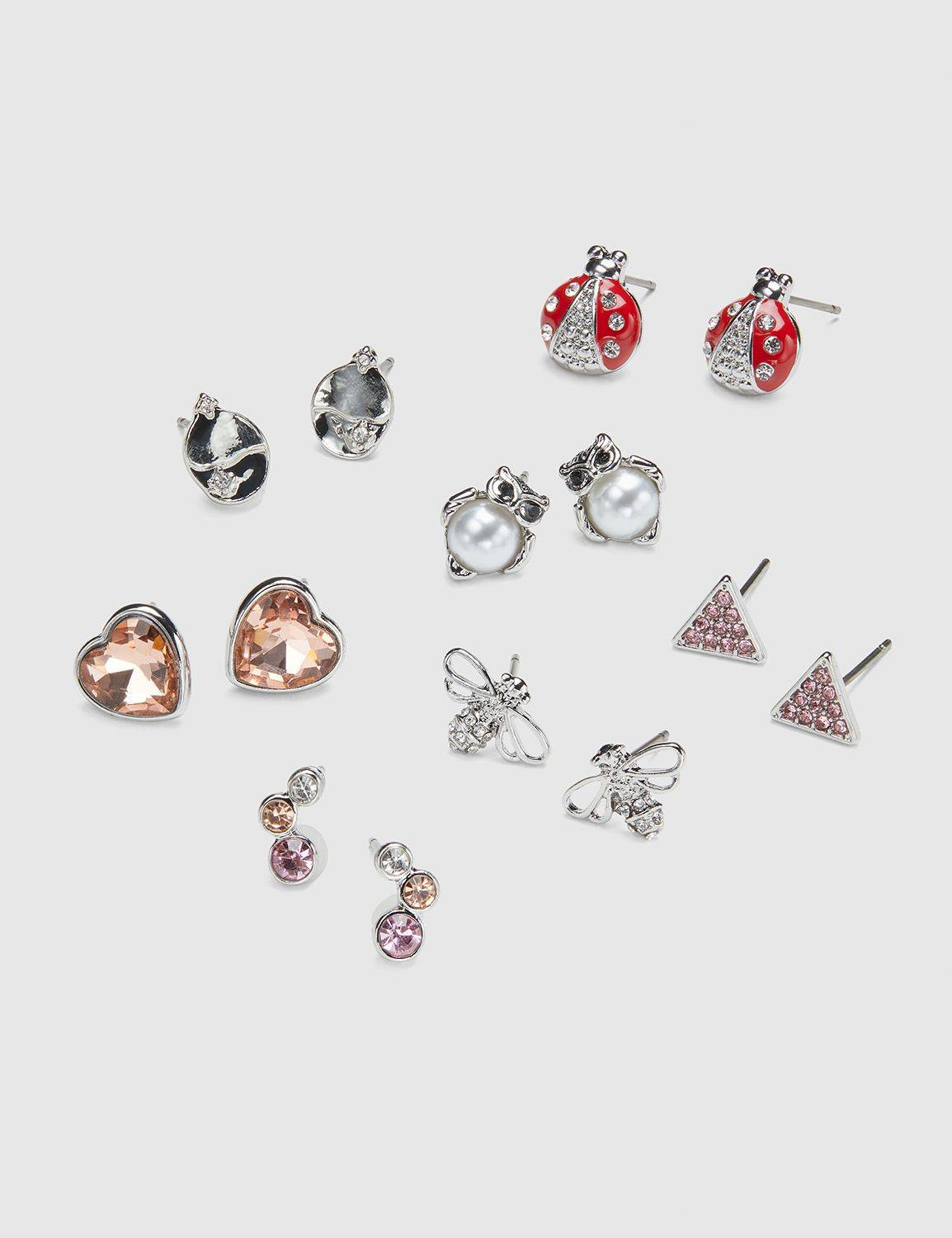 Lane Bryant Women's Stud Earrings - 7-Pack - Owl & Faceted Stones NO Silver Tone