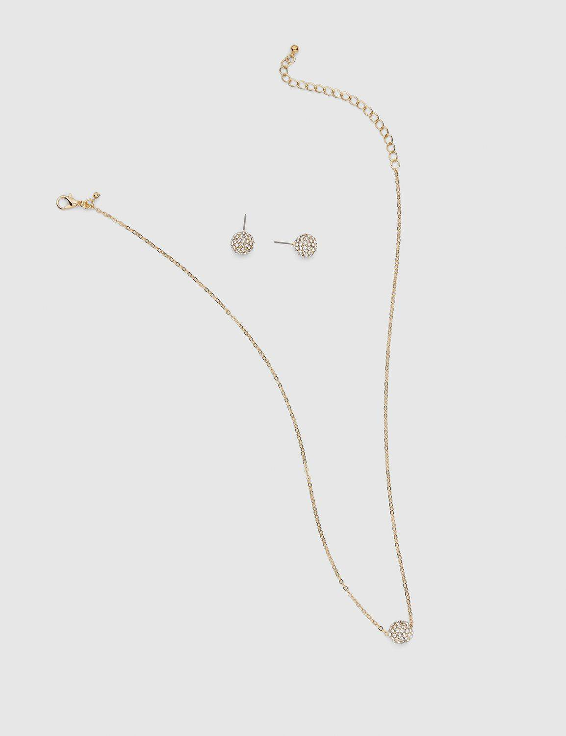 Lane Bryant Women's Fireball Earring & Necklace Set ONESZ Gold Tone