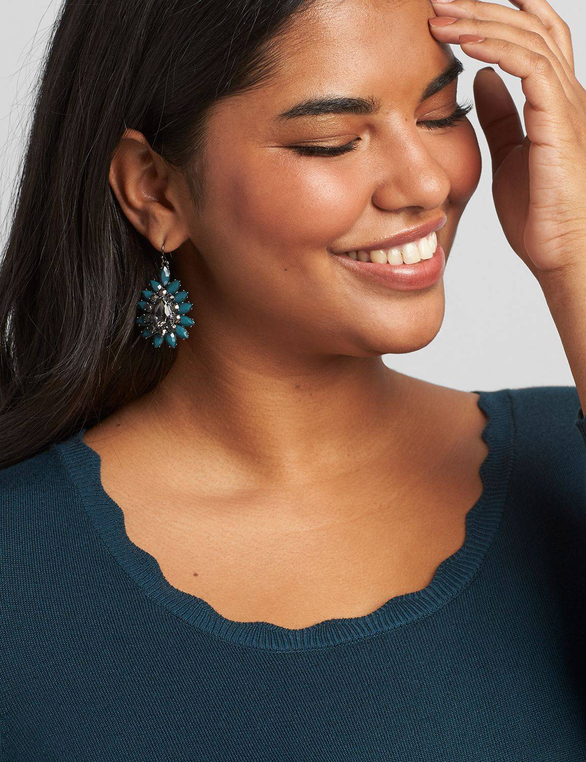 Lane Bryant Women's Faceted-Stone Cluster Drop Earrings ONESZ Deep Teal