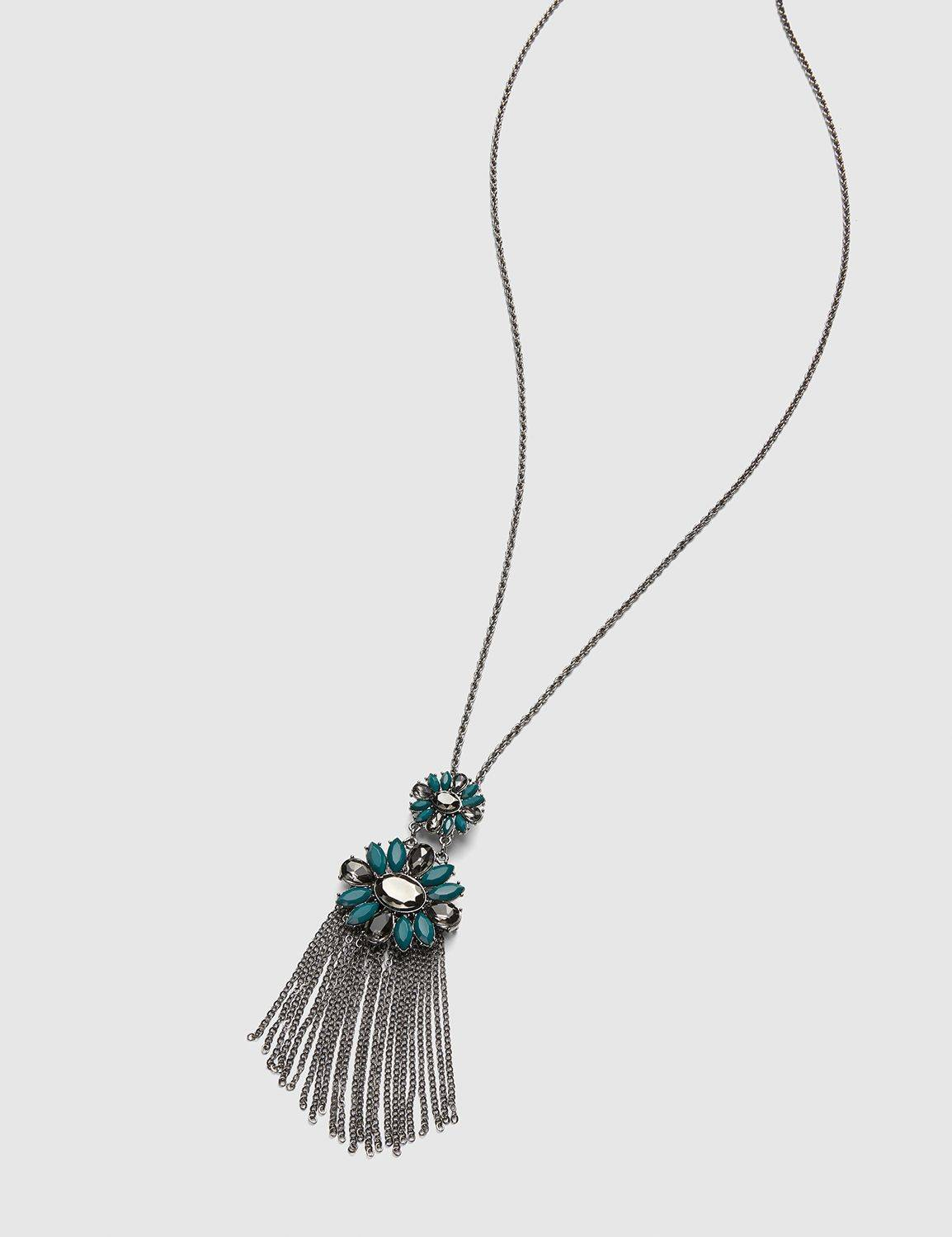 Lane Bryant Women's Faceted Stone Tassel Necklace ONESZ Deep Teal