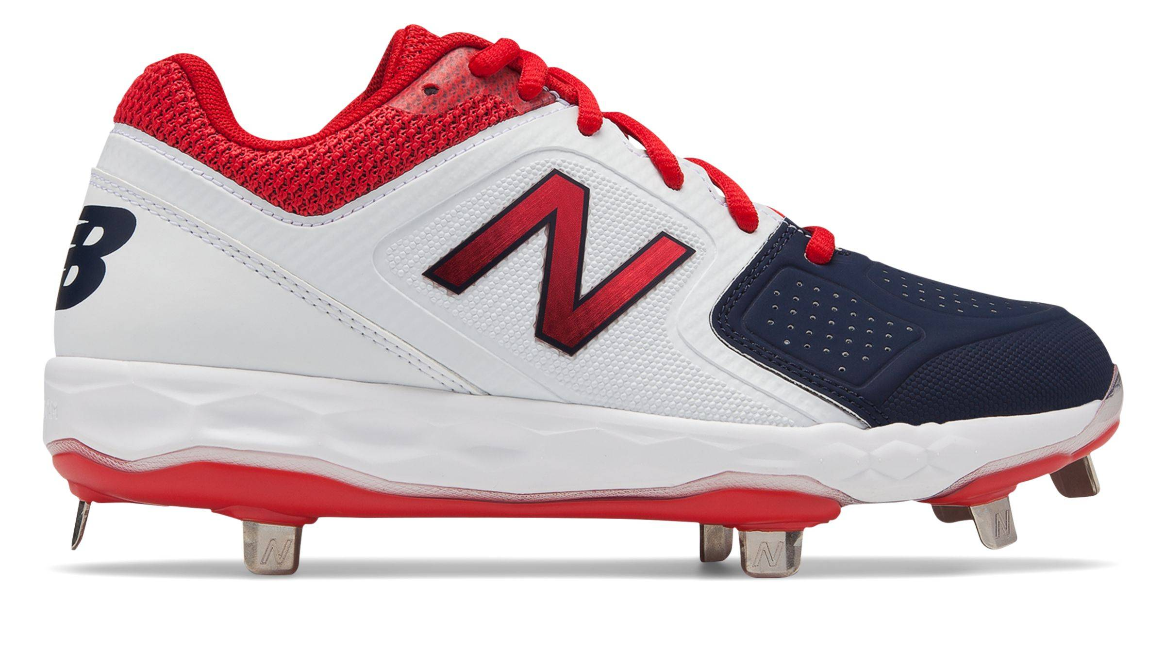 New Balance Low-Cut Fresh Foam Velo1 Metal Softball Cleat Womens Shoes Blue with Red  - Blue with Red - Size: 7