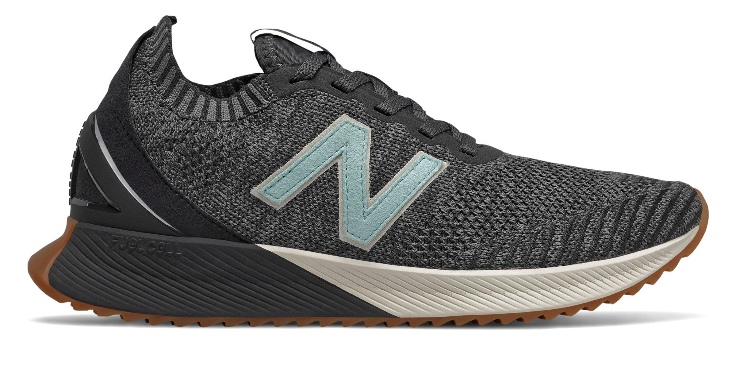 New Balance Women's FuelCell Echo Heritage Shoes Black with Grey & Blue  - Black with Grey & Blue - Size: 5