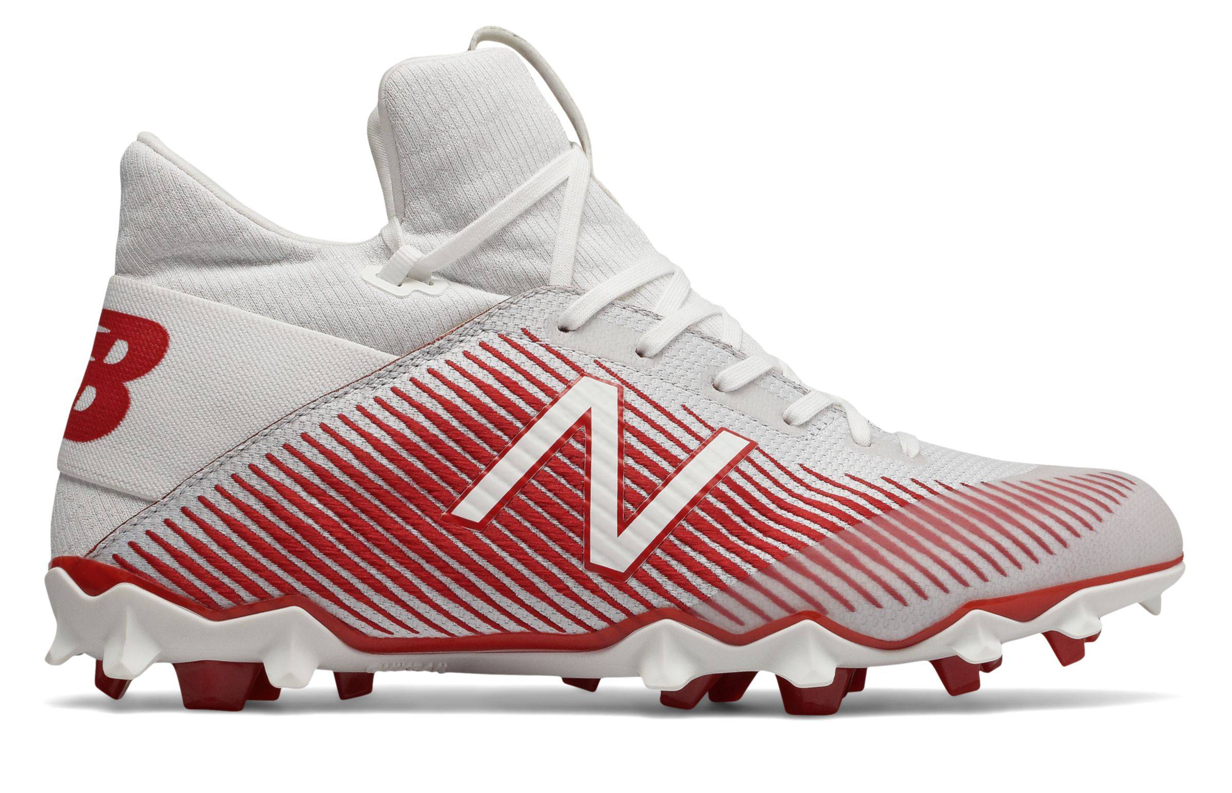 New Balance Men's FreezeLX 2.0 Lacrosse Shoes White with Red  - White with Red - Size: 10.5