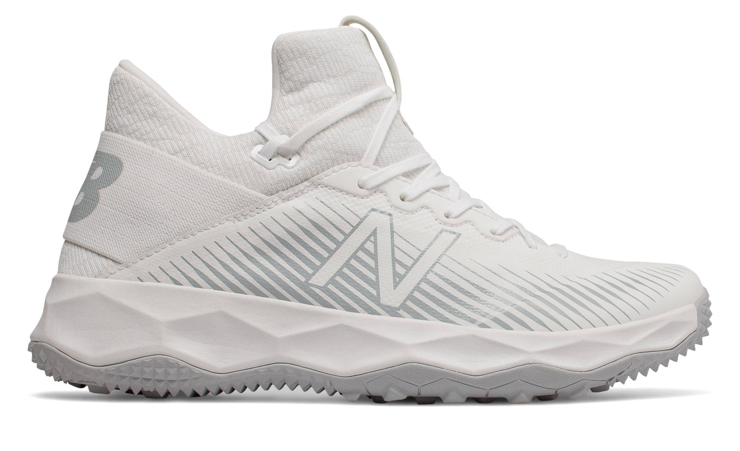 New Balance Men's FreezeLX 2.0 Turf Lacrosse Shoes White with Silver  - White with Silver - Size: 14