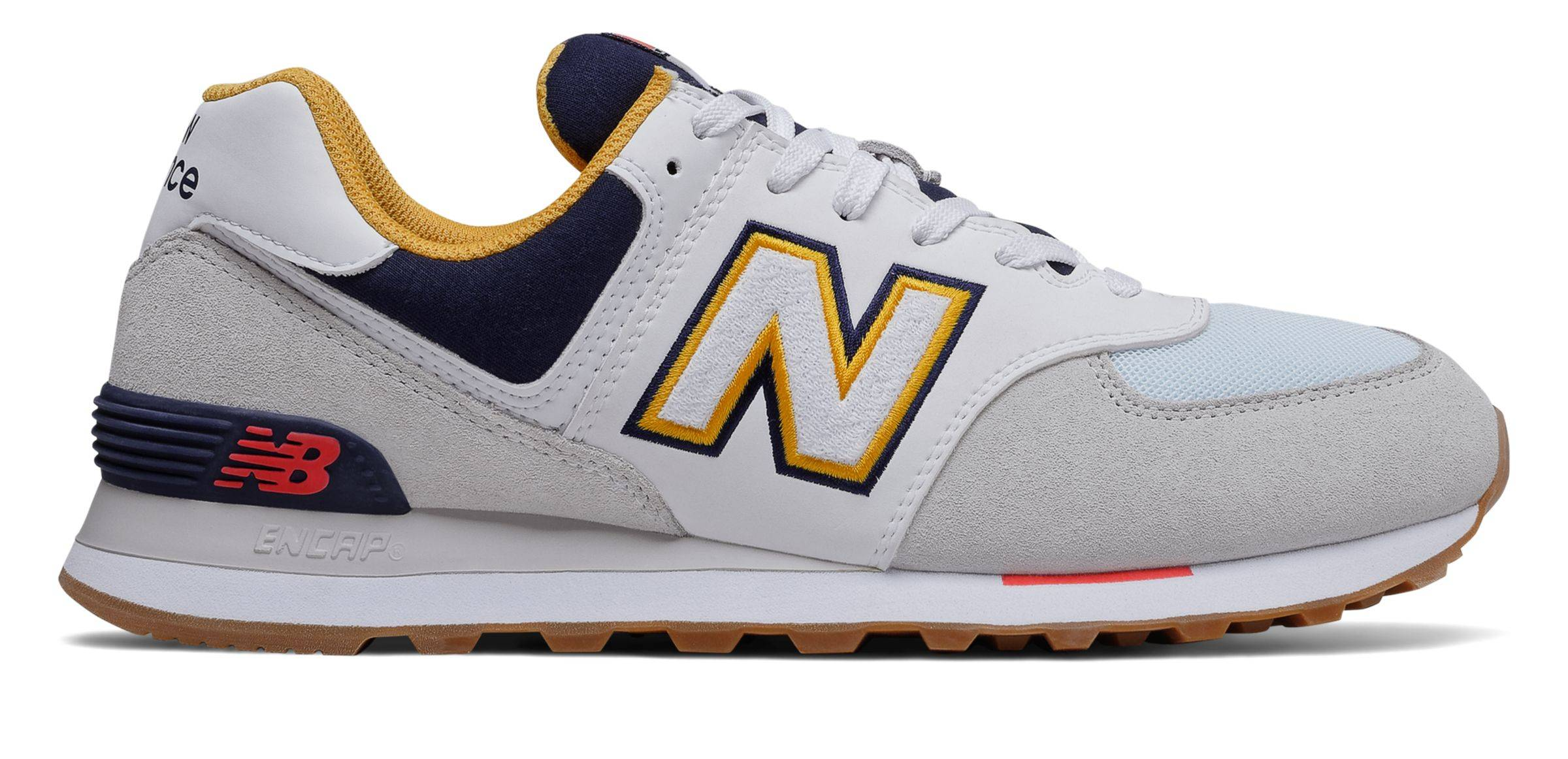New Balance Men's 574 Shoes Grey with Navy  - Grey with Navy - Size: 9
