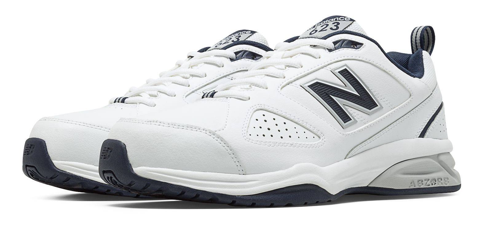 New Balance Men's 623v3 Shoes White with Navy  - White with Navy - Size: 7