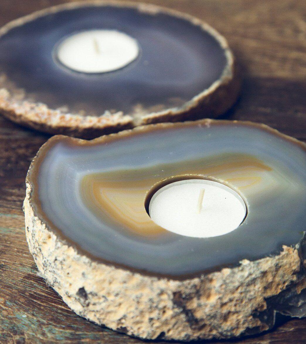 SoulMakes Agate Slab Candle Holder Natural Crystal
