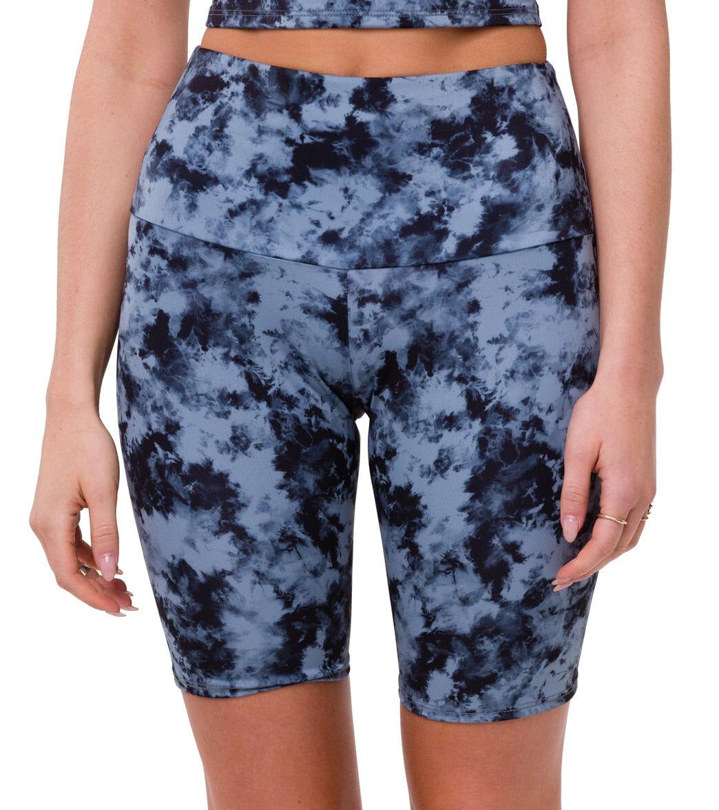 Onzie Women's High Rise Bike Shorts - Wash Moonstone Acid ML Spandex