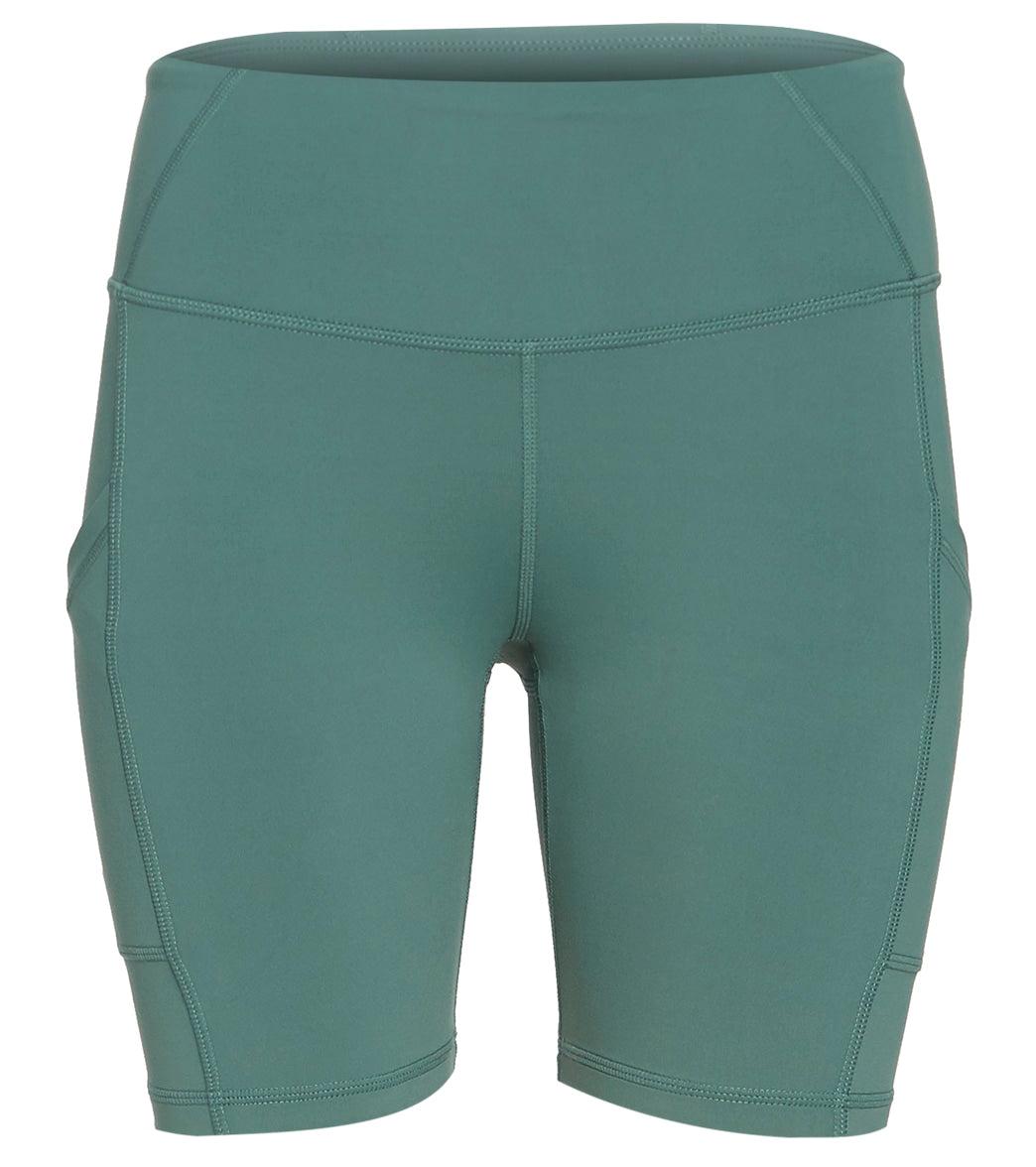 prAna Women's Electa Yoga Shorts - Peacock Large Cotton