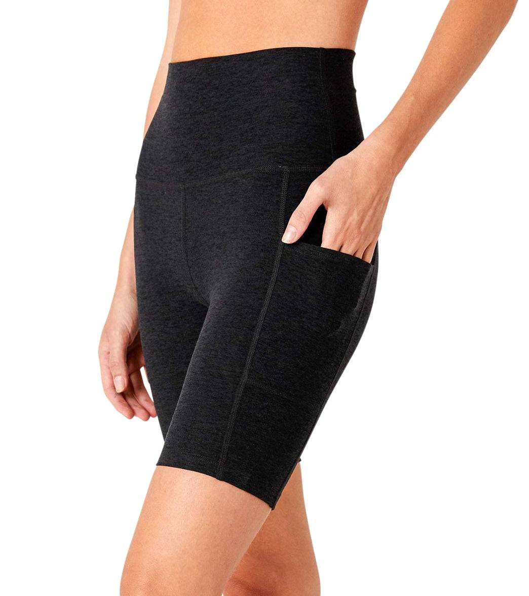 Beyond Yoga Women's Spacedye Team Pockets High Waisted Biker Shorts - Darkest Night Large Spandex