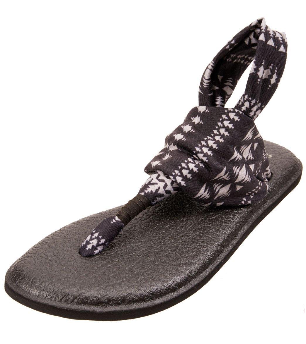 Sanuk Women's Yoga Sling 2 Prints Sandal - Black/Natural Koa Tribal 10 Rubber