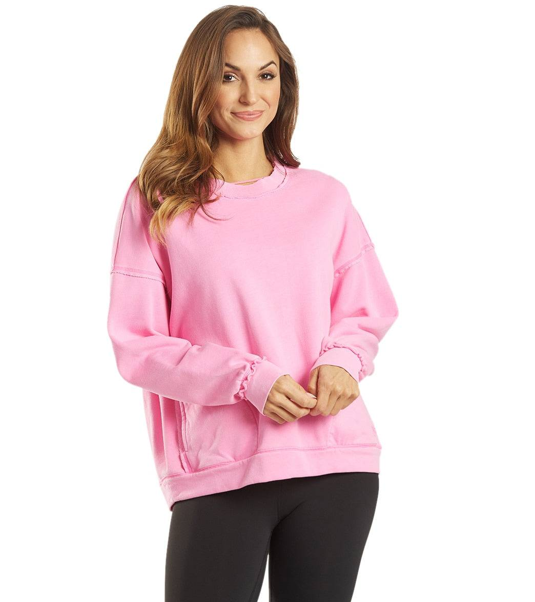 Free People Women's Solid Metti Crew Neck Pullover - Miami Pink - Small Cotton Shirt