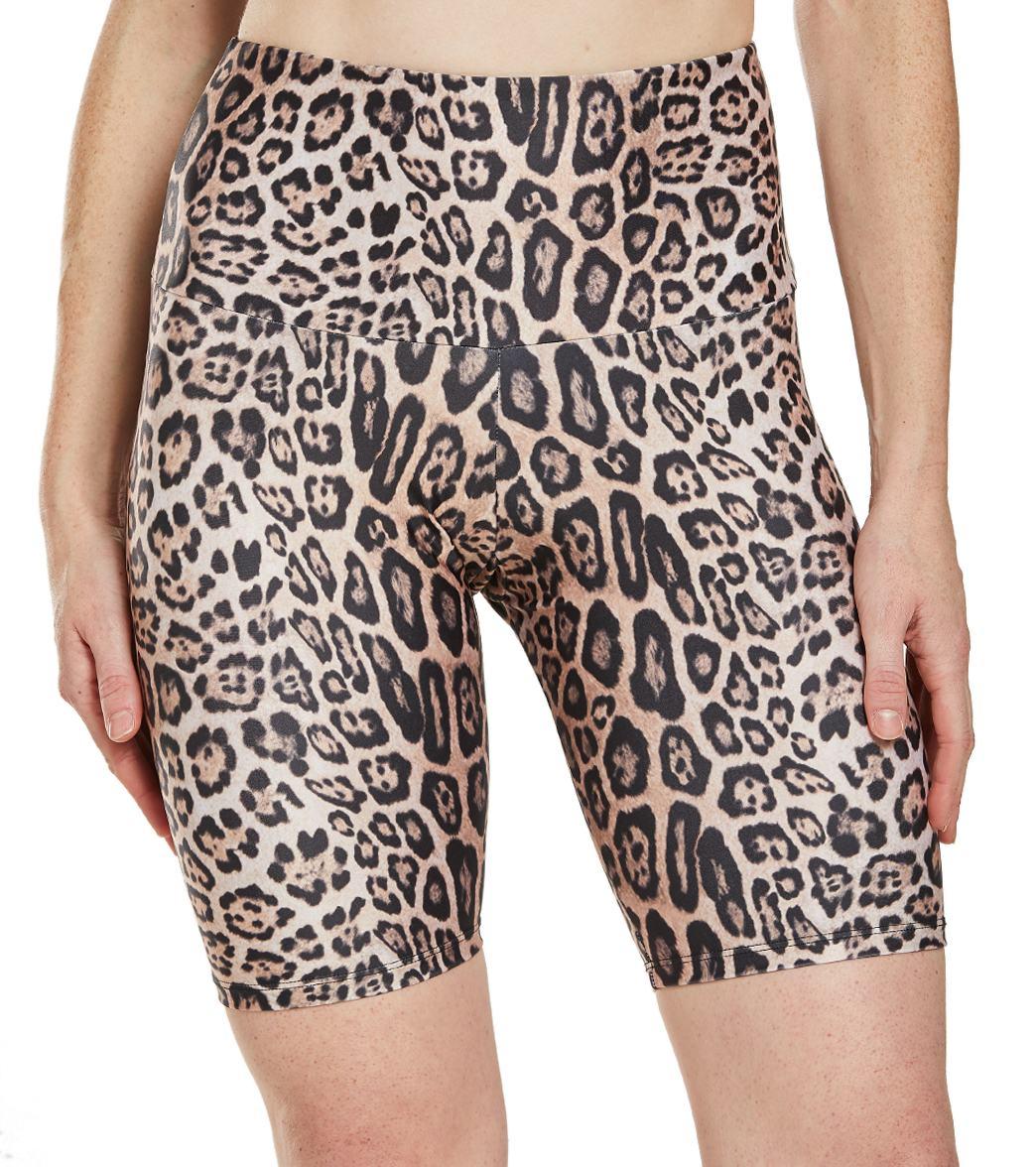 Onzie Women's High Rise Bike Shorts - Leopard - Medium/Large Spandex