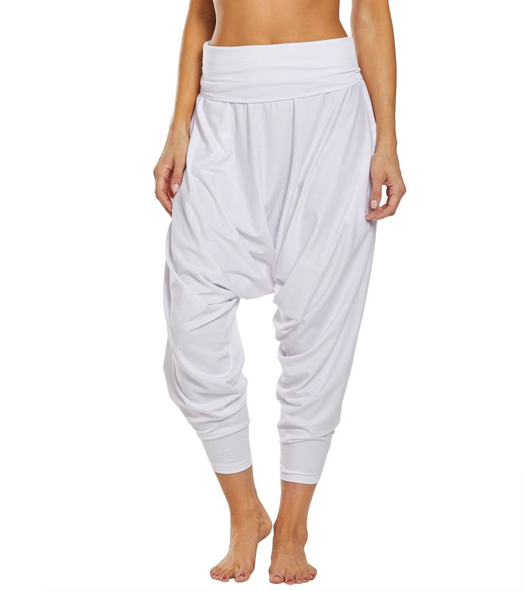 Buddha Pants Women's San Fran Organic Bamboo Harem - White Large Cotton