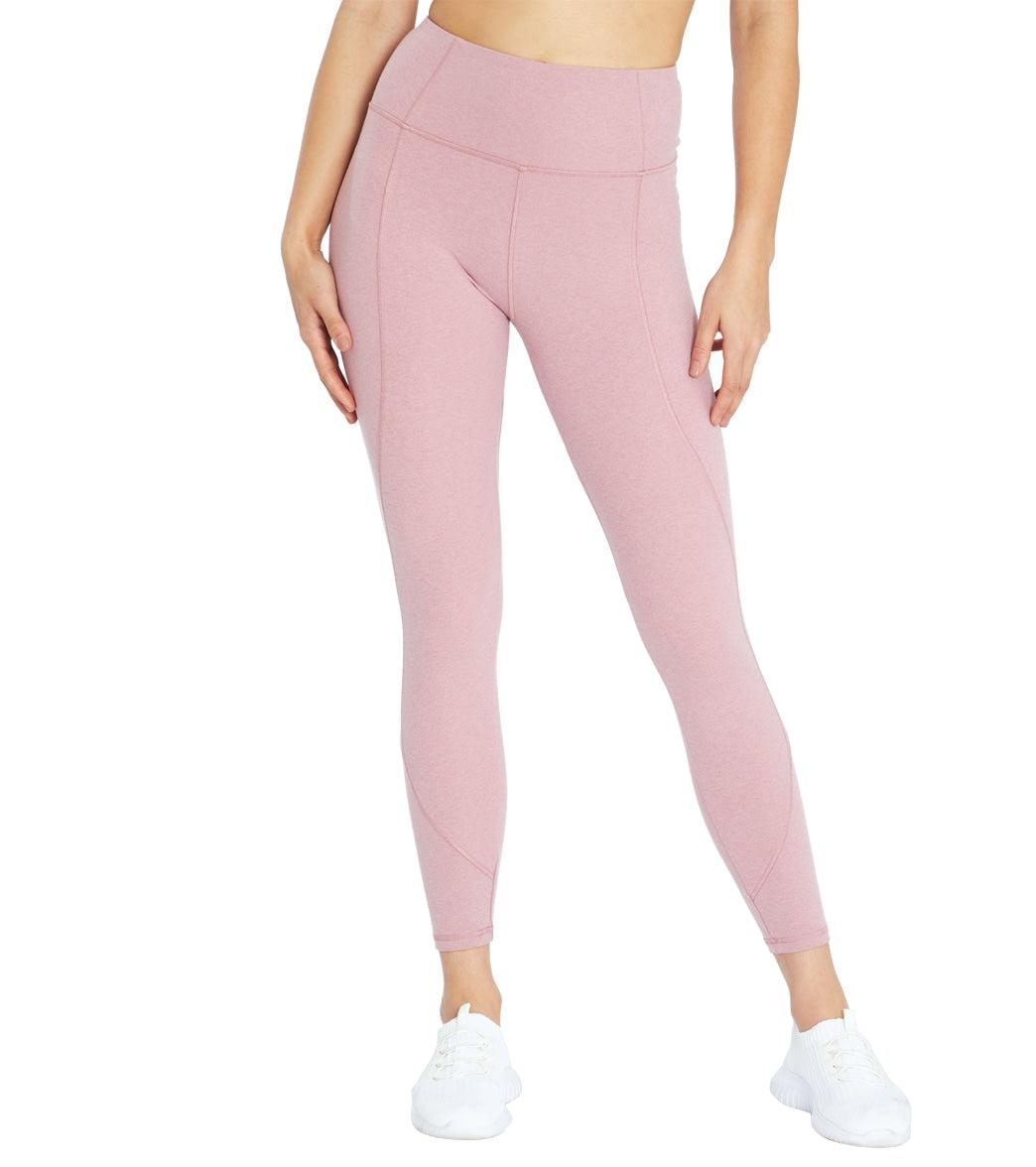 "Marika Women's Zola 25"" Yoga Leggings - Heather Rose Large Spandex Moisture Wicking"