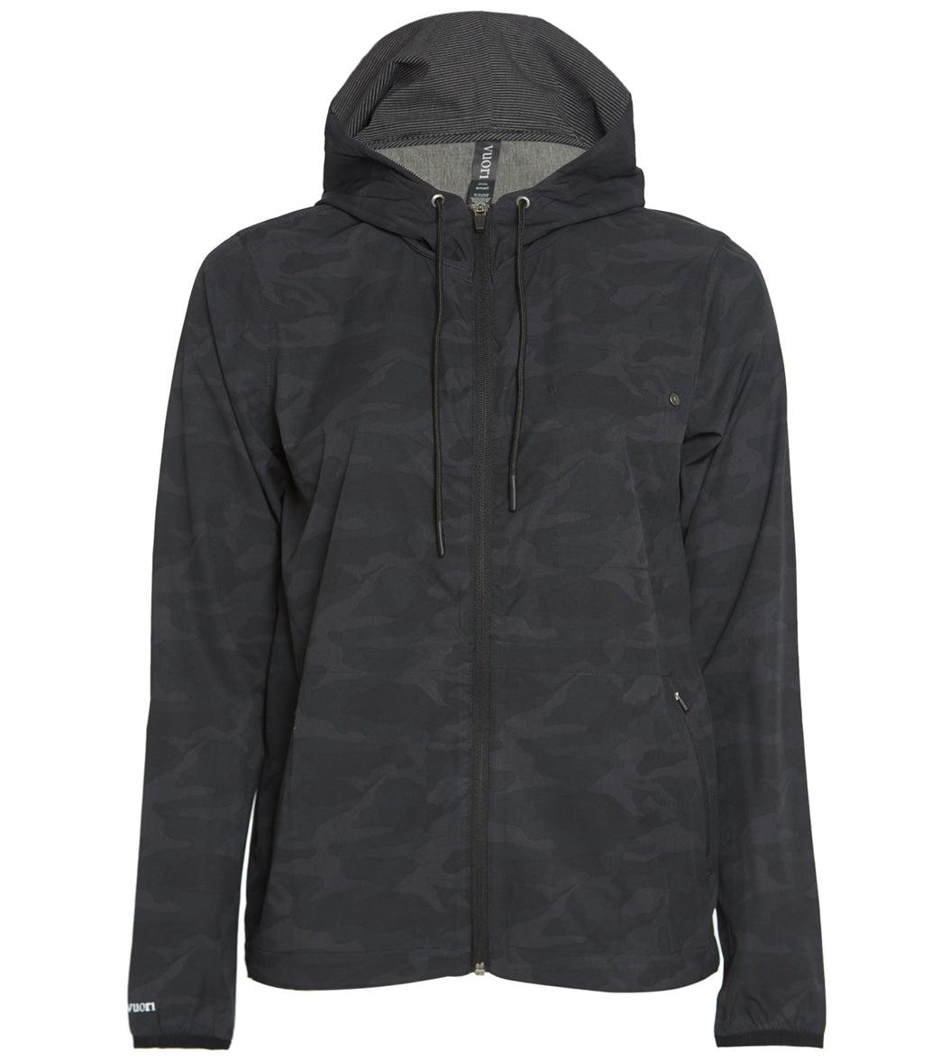 Vuori Women's Outdoor Trainer Shell - Camo Black - Medium Polyester/Elastane Top