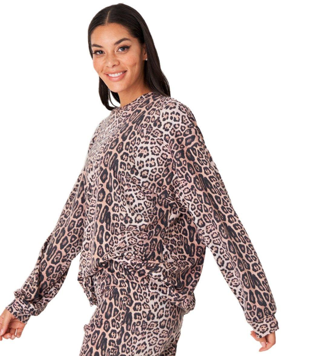 Onzie Women's Boyfriend Sweatshirt - Leopard Spandex
