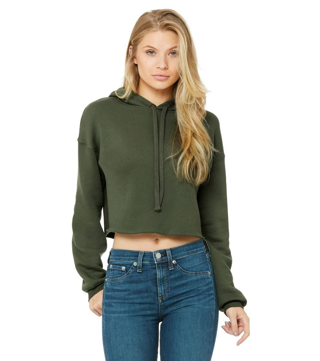 Bella + Canvas Women's Cropped Fleece Hoodie - Military Green - Large Cotton