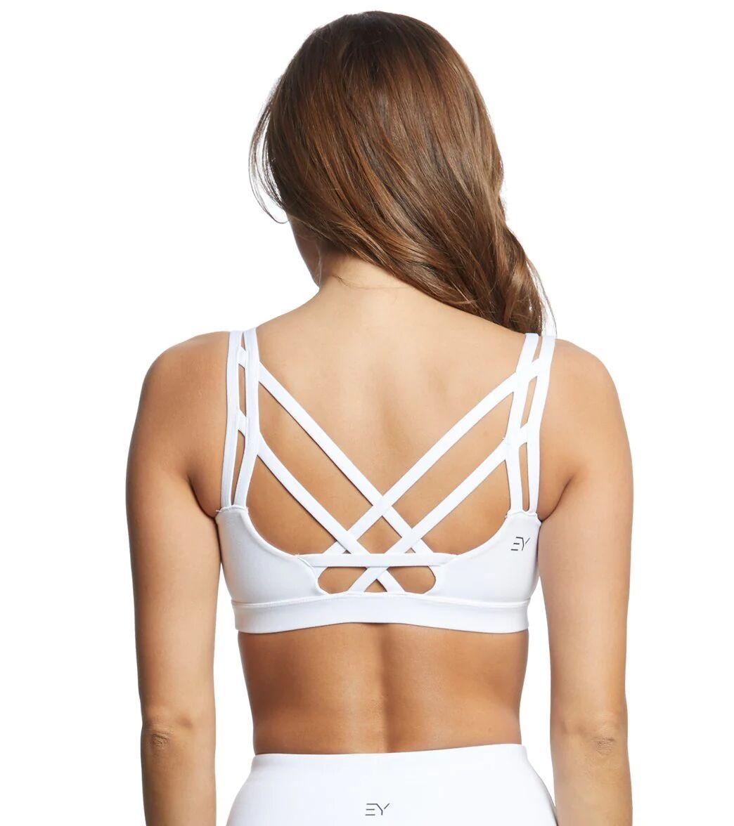 Everyday Yoga Women's Radiant Strappy Back Sports Bra - White X-Small Polyester/ Spandex