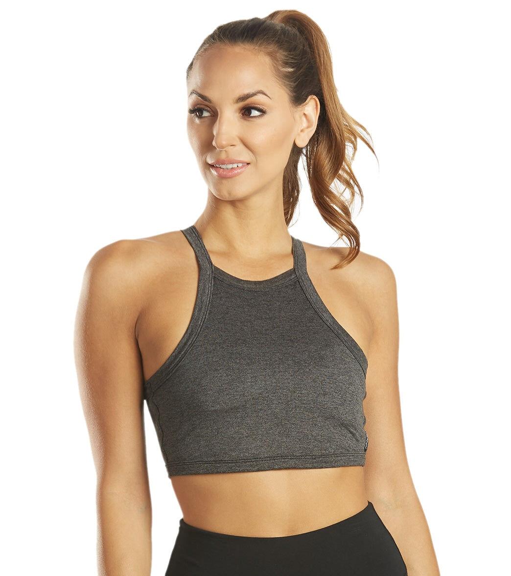 Hard Tail Women's Back Strap Yoga Sport Bra - Charcoal Large Spandex