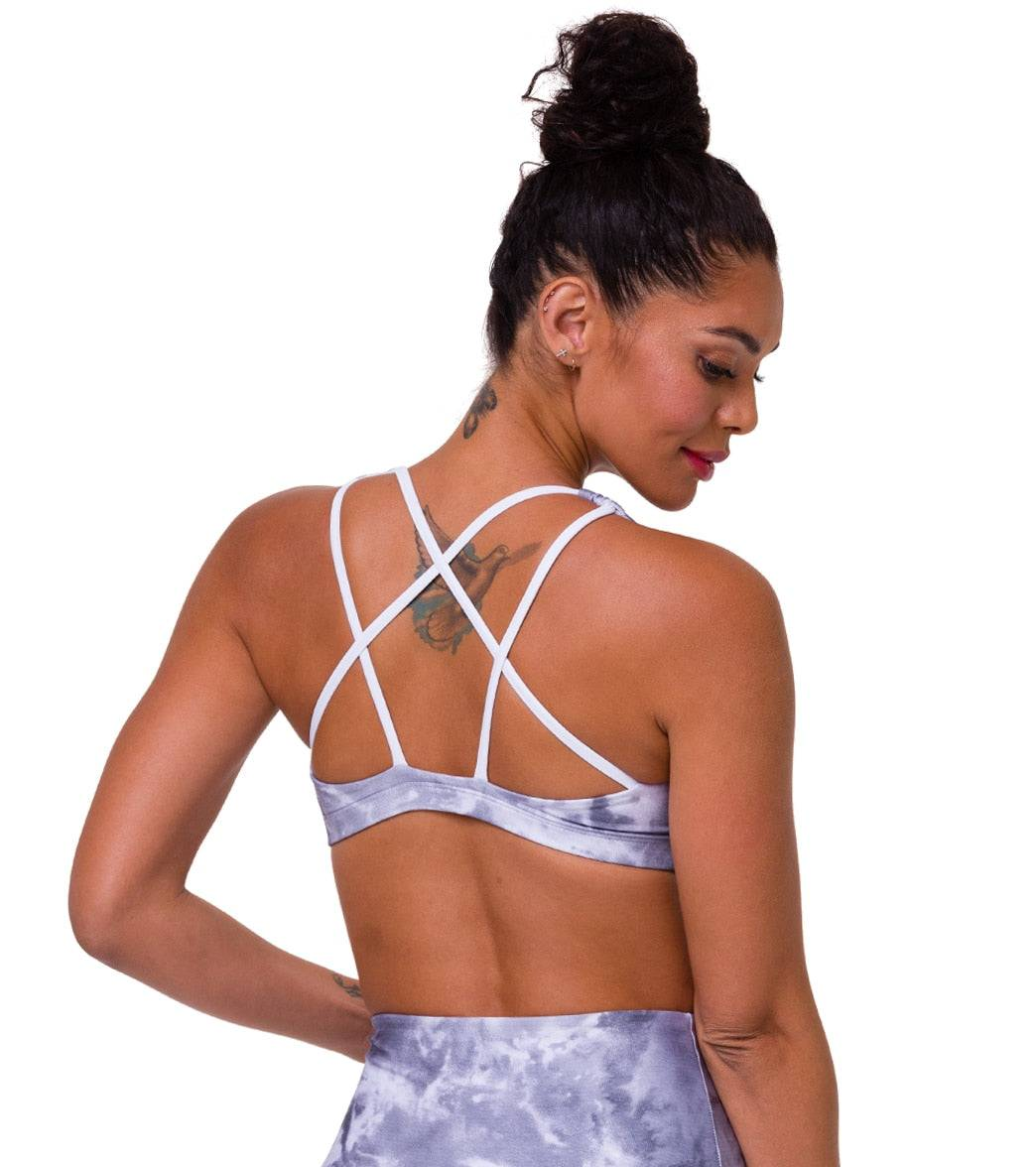 Onzie Women's Graphic Mudra Yoga Sports Bra - Light Gray Tie Dye Small/Medium