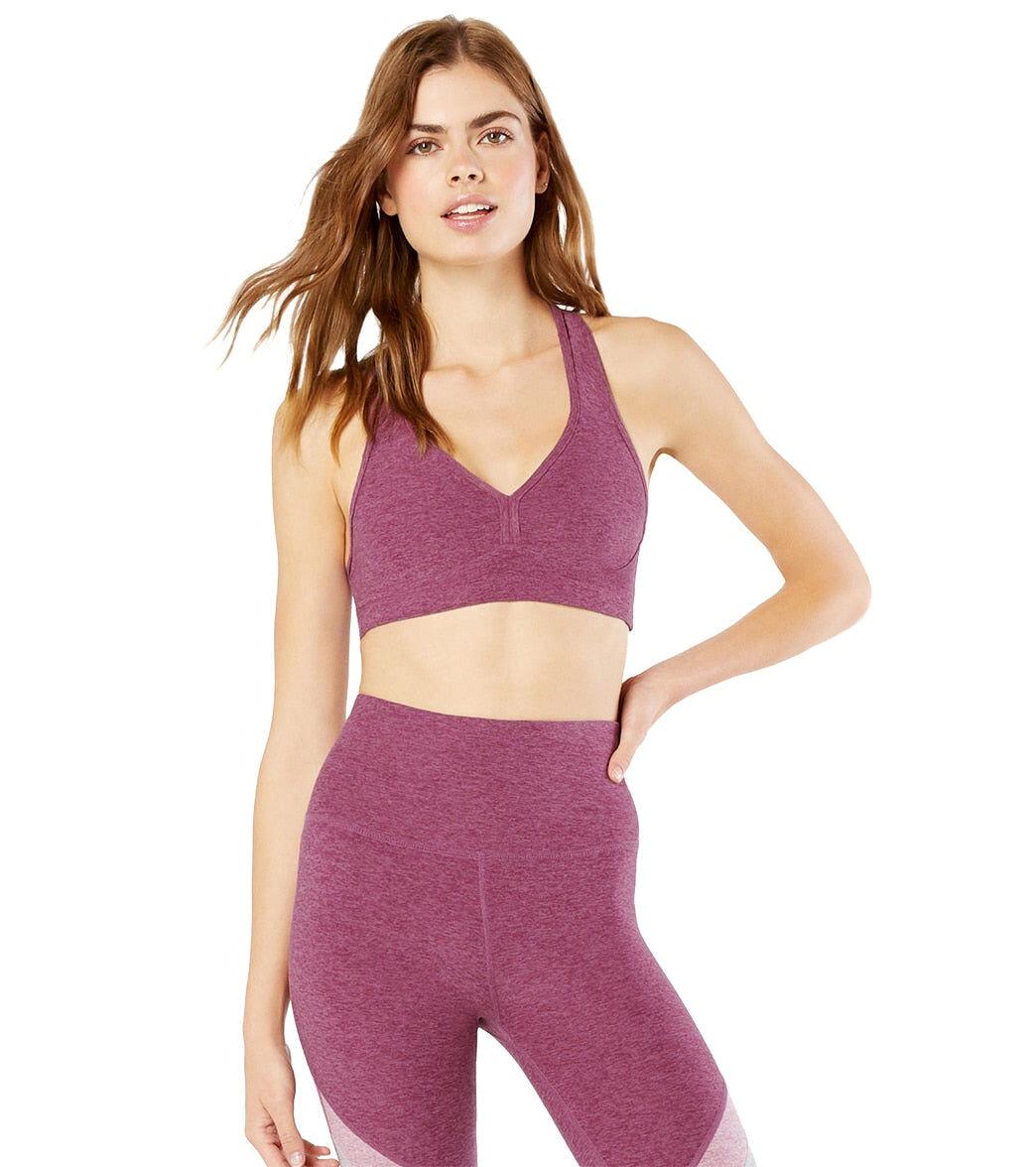 Beyond Yoga Women's Spacedye Lift Your Spirits Sports Bra - Desert Berry-Blush Blooms Berry/Blush Large Spandex Moisture Wicking