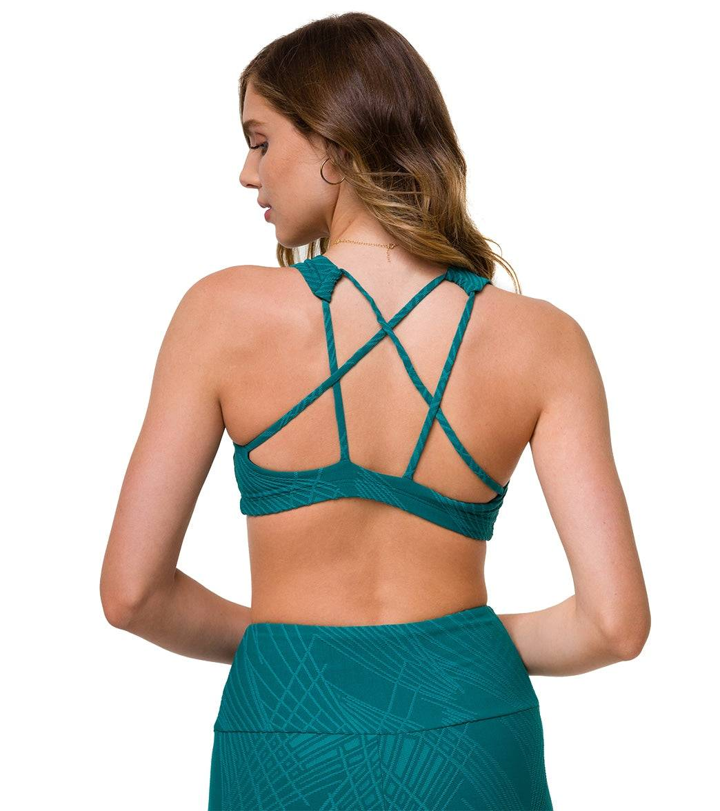 Onzie Women's Mudra Yoga Sports Bra - Teal Selenite LL Spandex