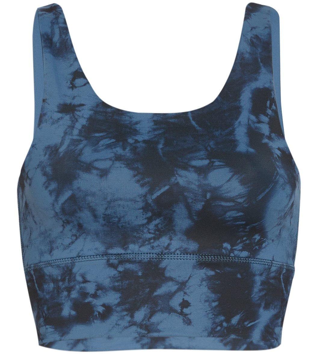 DYI Women's Elevate Printed Yoga Sports Bra - Chambray Tie Dye X-Small Spandex
