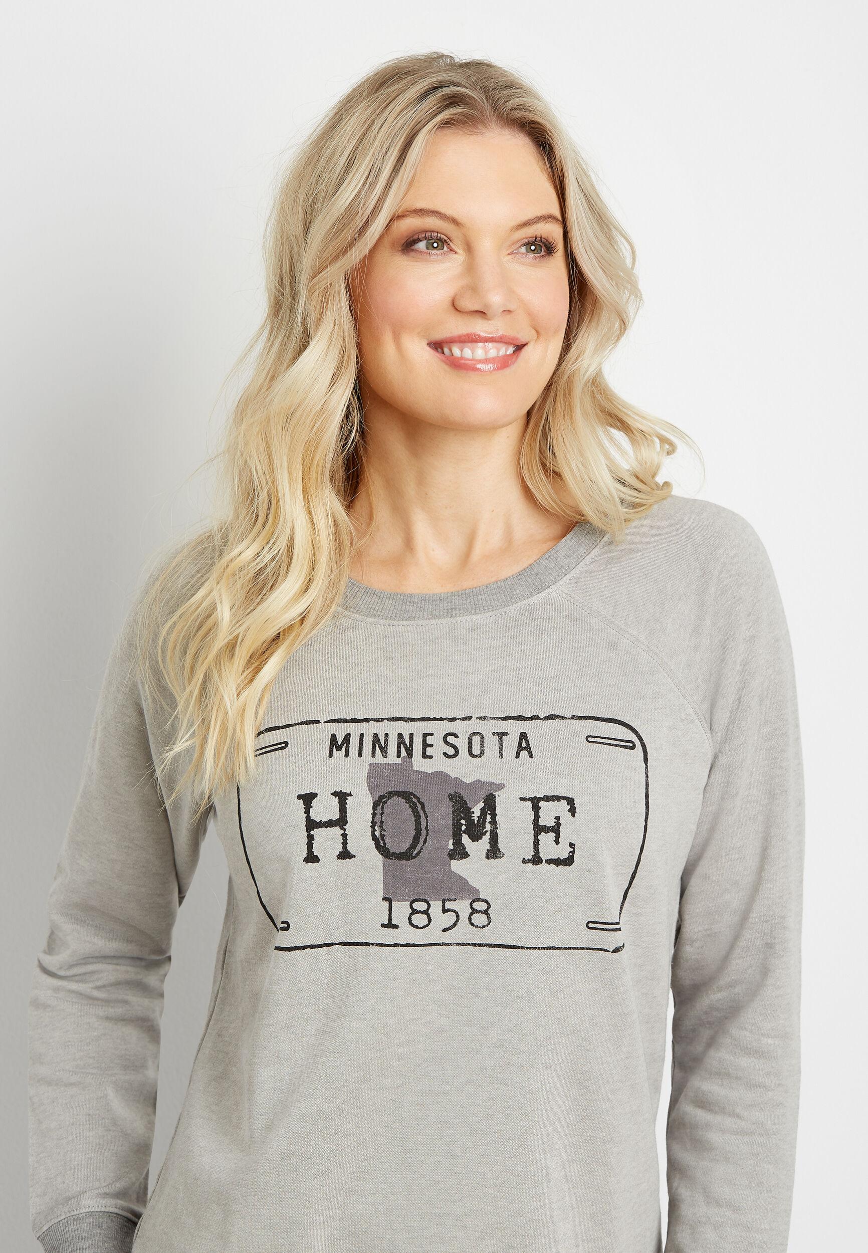 Maurices Womens Gray Minnesota Crew Neck Sweatshirt  -  Small