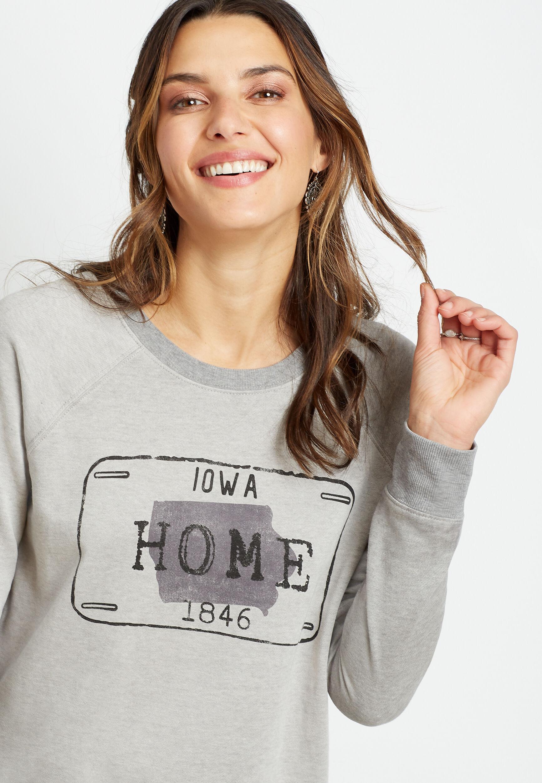 Maurices Womens Gray Iowa Crew Neck Sweatshirt  -  Large