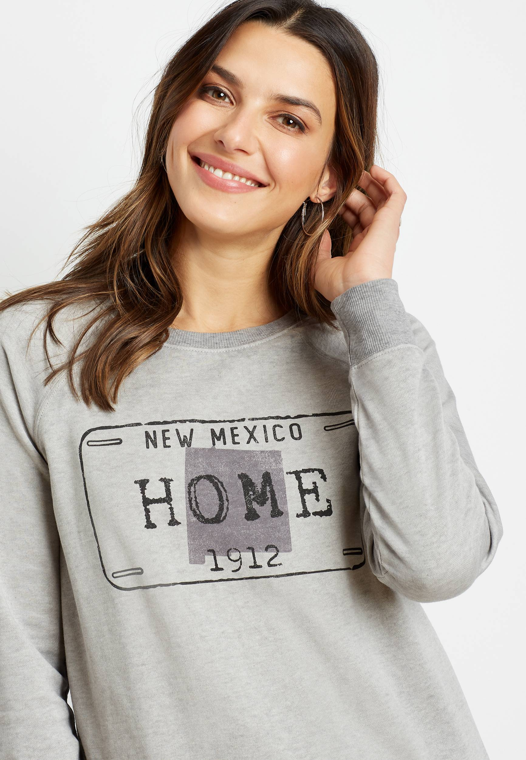 Maurices Womens Gray New Mexico Crew Neck Sweatshirt  -  Small