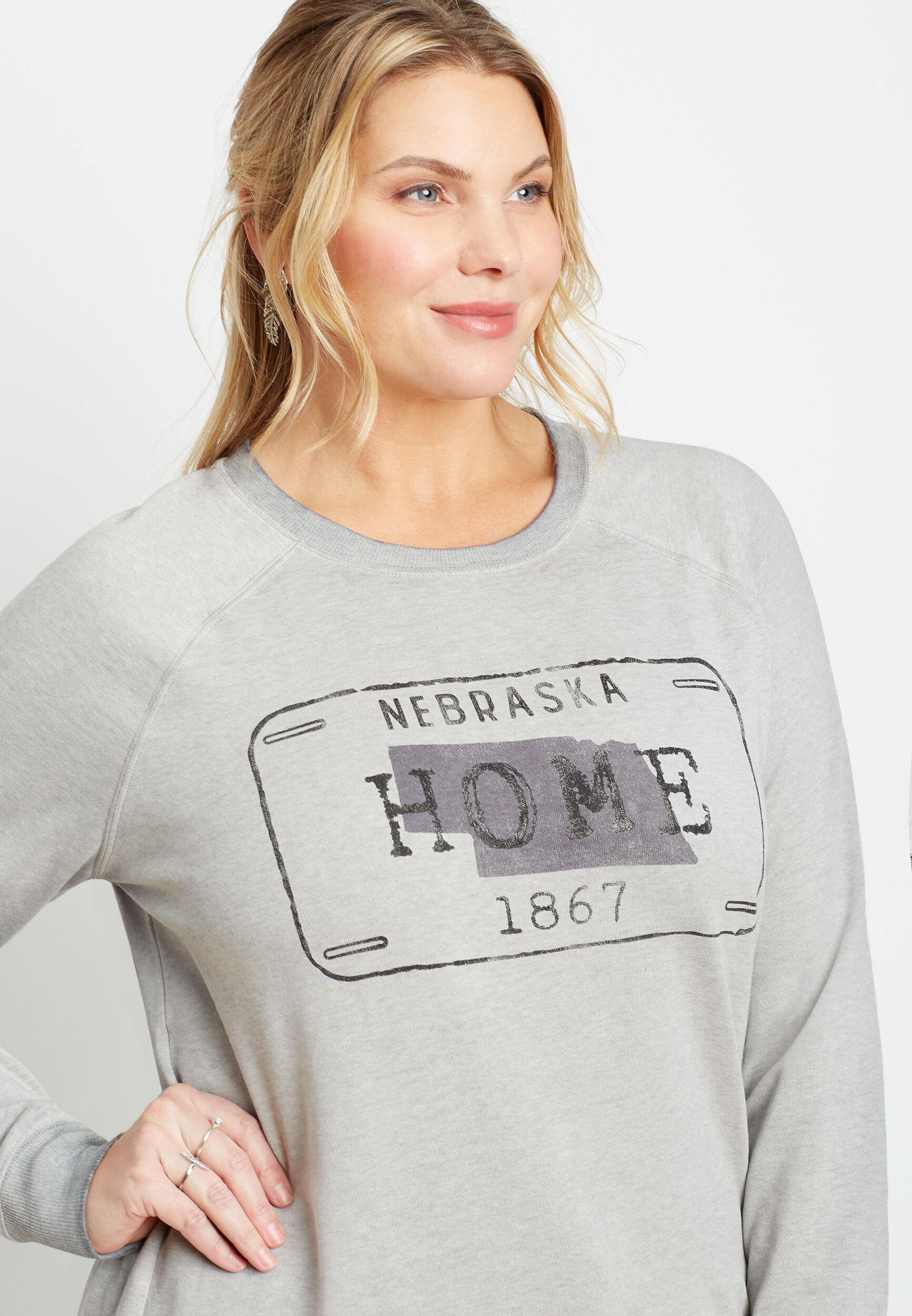 Maurices Plus Size Womens Gray Nebraska Crew Neck Sweatshirt  -  1X