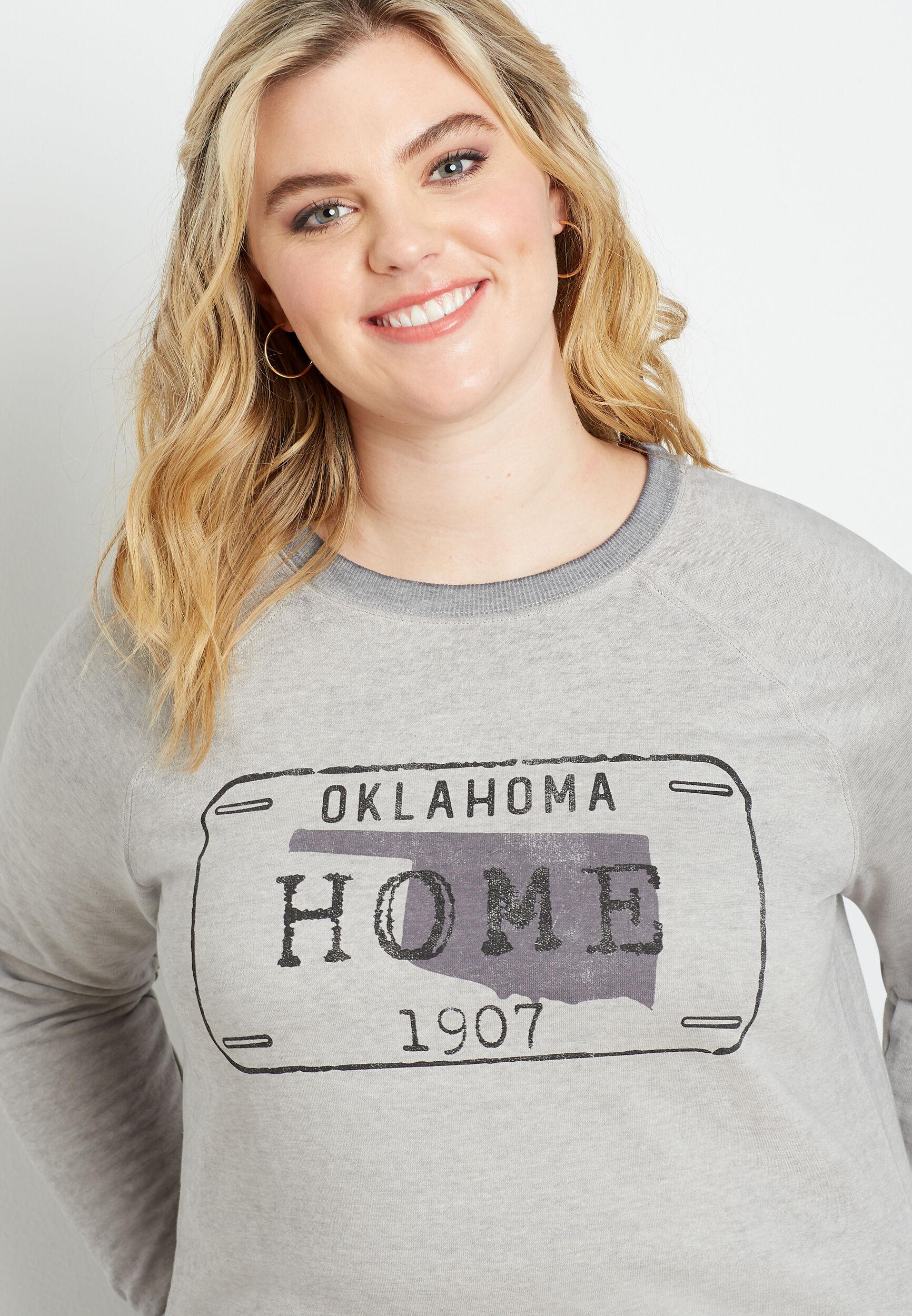 Maurices Plus Size Womens Gray Oklahoma Crew Neck Sweatshirt  -  3X