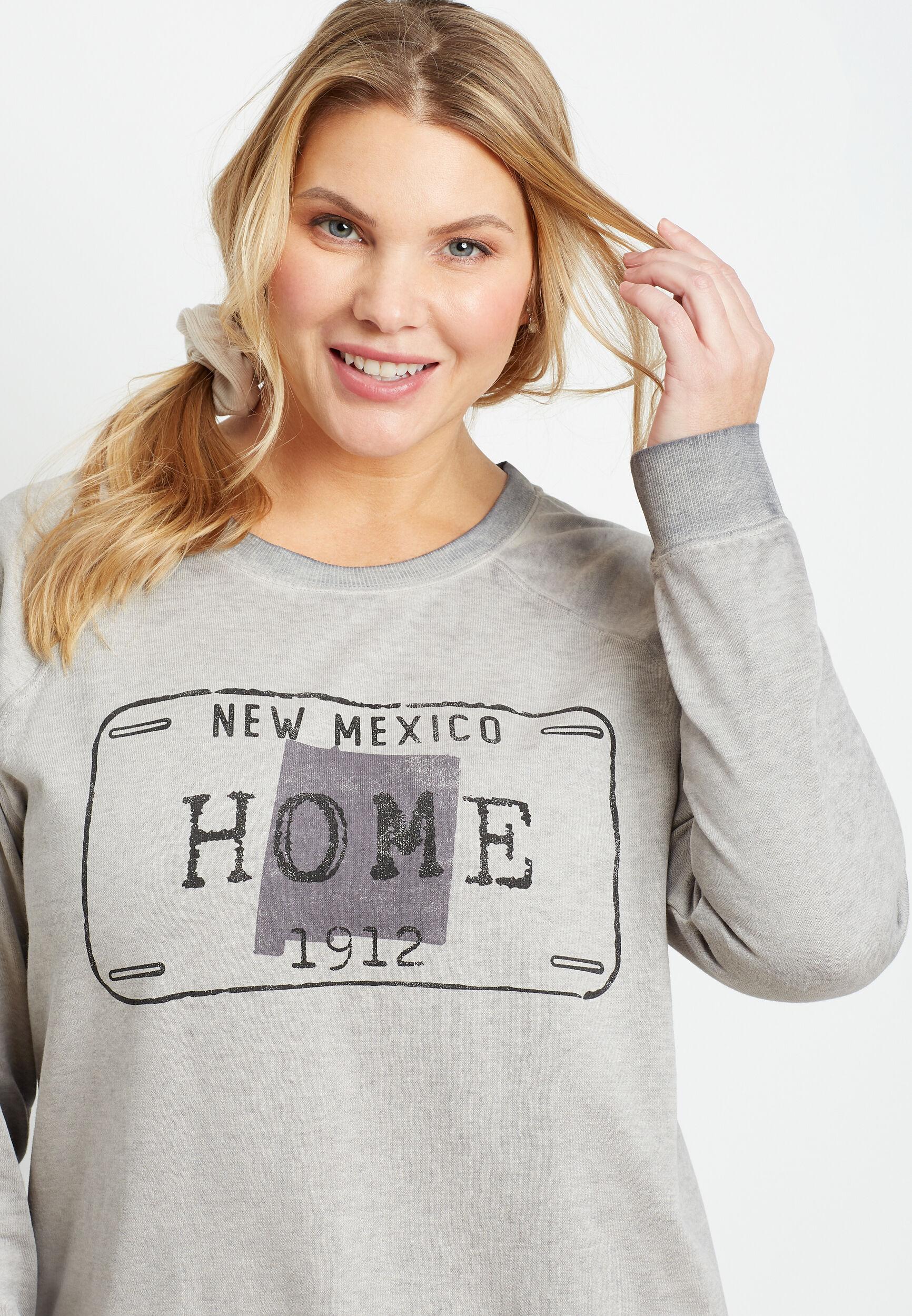 Maurices Plus Size Womens Gray New Mexico Crew Neck Sweatshirt  -  0X