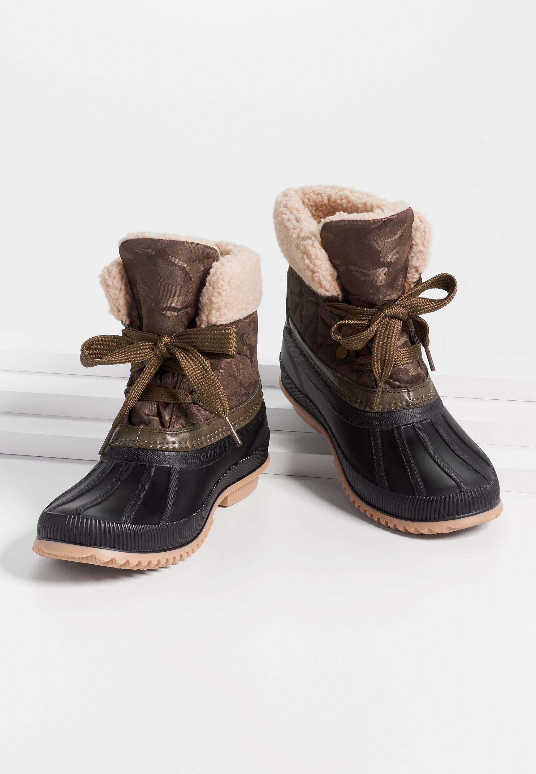 Maurices Womens Jessie Camo Sherpa Collar Duck Boot Green  -  7 1/2