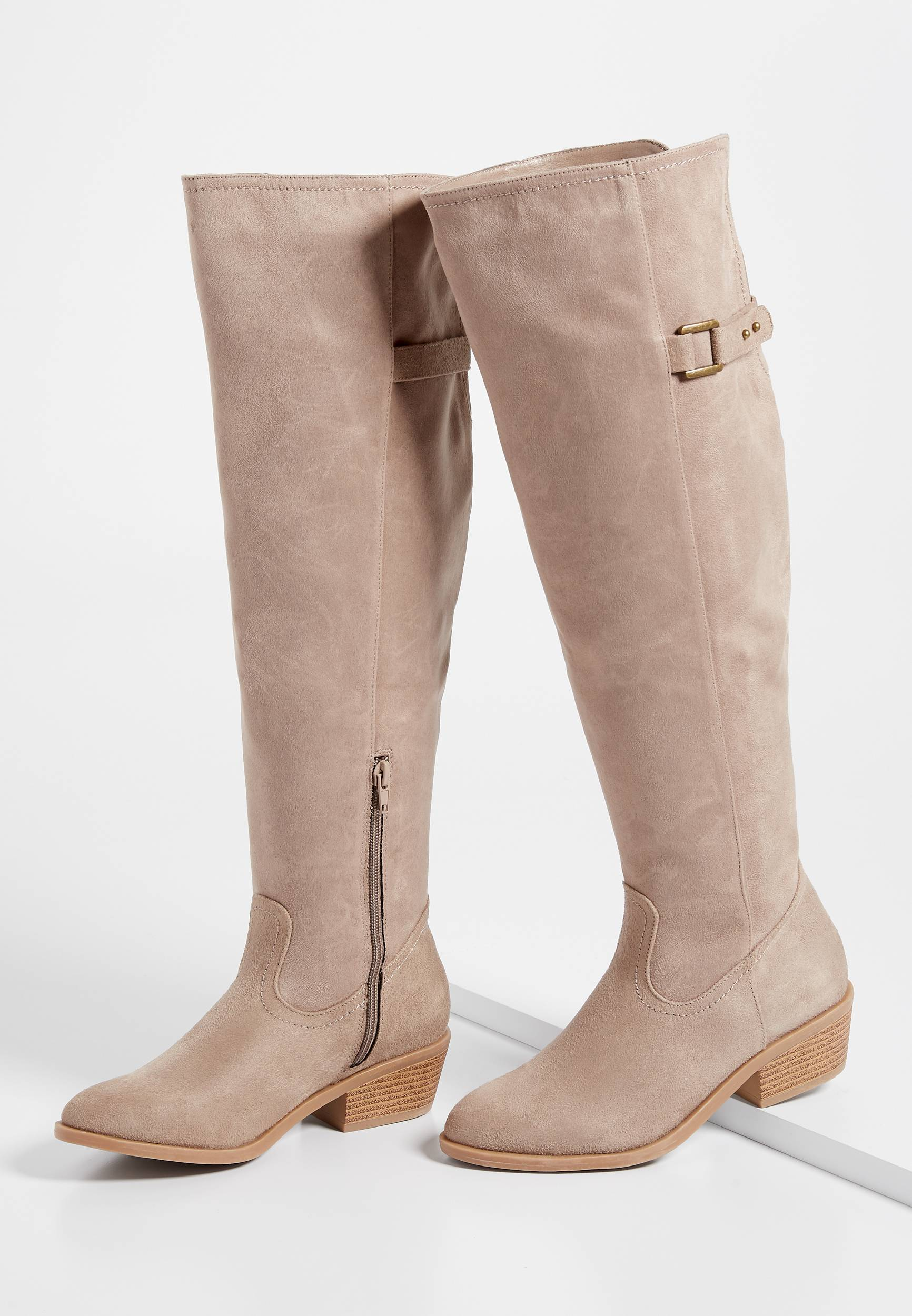 Maurices Womens Emily Wide Calf Buckle Tall Riding Boot Brown  -  9