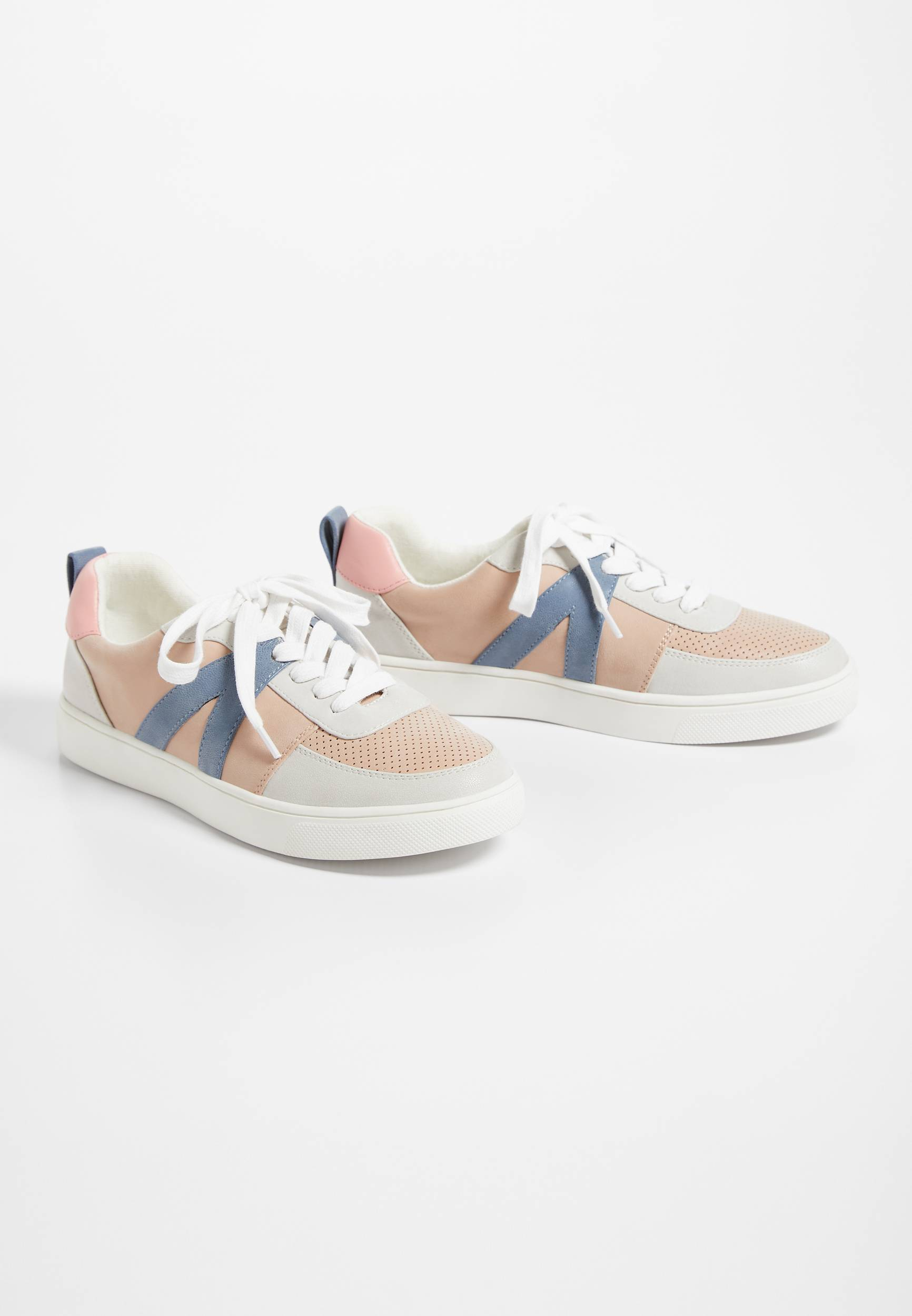 Maurices Womens Shelby Blush Colorblock Lace Up Sneakers Pink  -  7 1/2