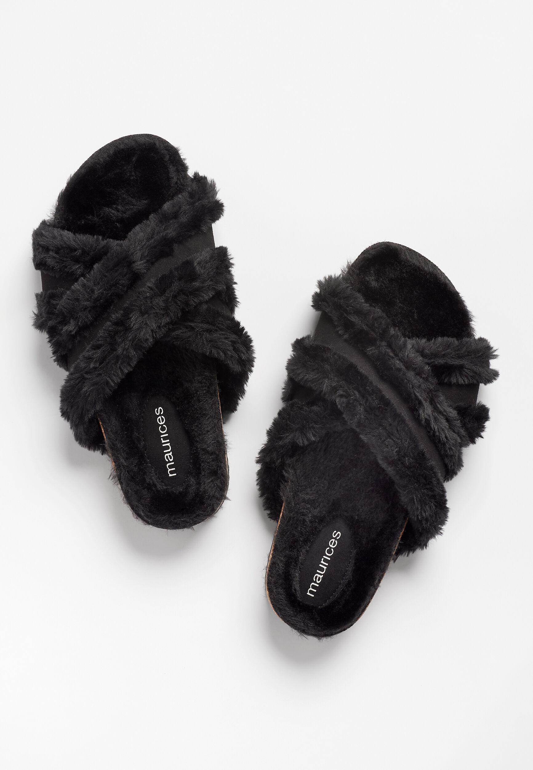 Maurices Womens Opal Black Criss Cross Faux Fur Lined Slipper  -  8