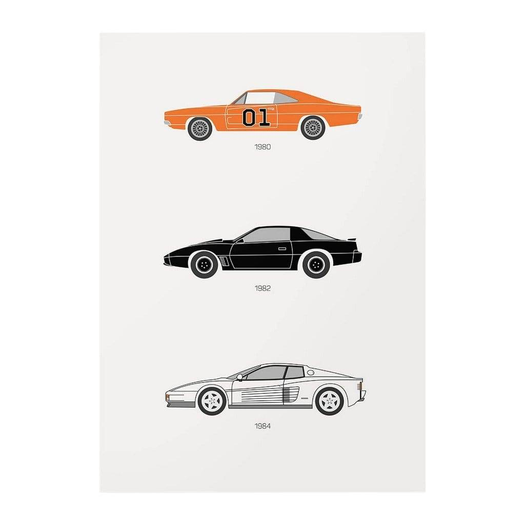 Rear View Prints Amped Up Autos - 1980s Iconic TV Cars Poster