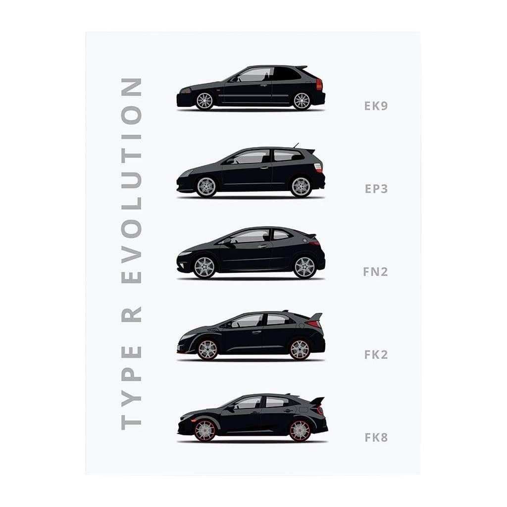 Rear View Prints Honda Civic Type-R Car Poster