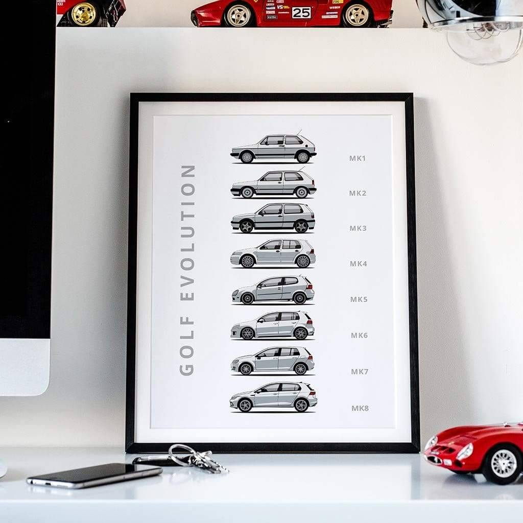 Rear View Prints Volkswagen Golf Evolution Car Poster