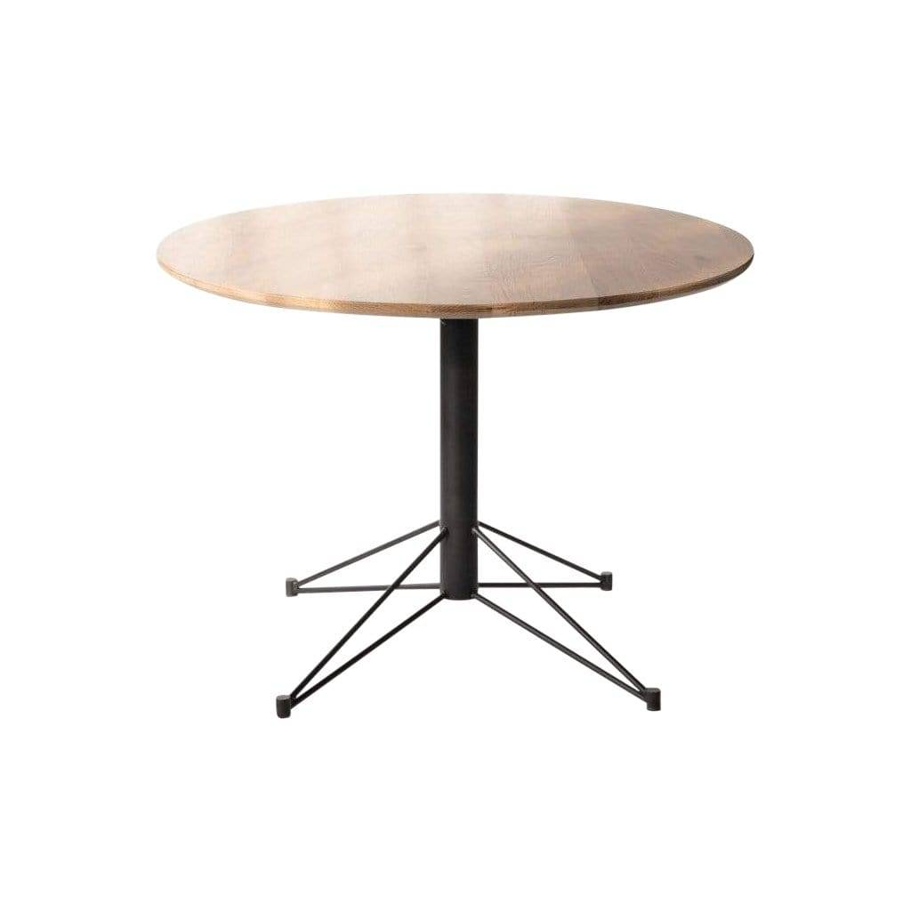 Creative Labs Mast Round Dining Table with White Oak and Black Base