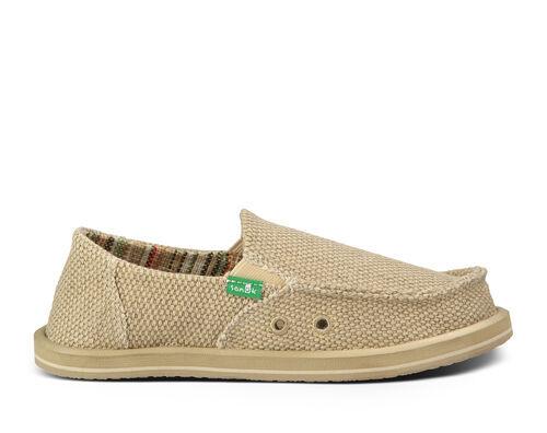 Sanuk Kids' Vagabond Boys Sidewalk Surfers Slip-On Shoes in Khaki, Size 5