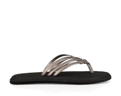 Sanuk Women's Yoga Salty Metallic Flip Flops in Pewter, Size 11