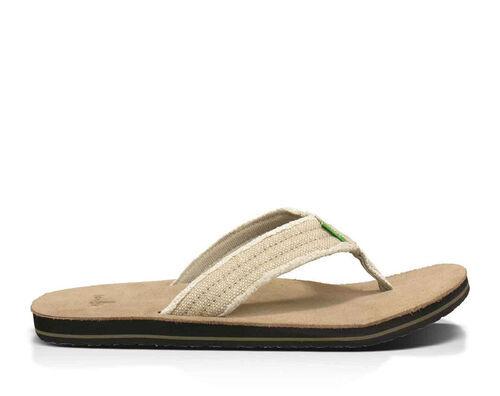 Sanuk Men's Fraid Not Flip Flops in Natural, Size 8