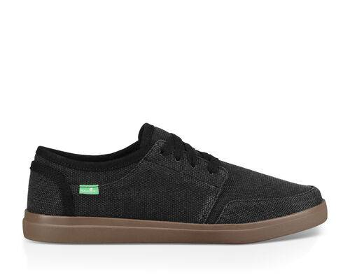 Sanuk Men's Vagabond Lace Sneaker Slip-On Shoes in Black/Gum, Size 14