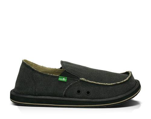 Sanuk Men's Vagabond Sidewalk Surfers Slip-On Shoes in Charcoal, Size 7